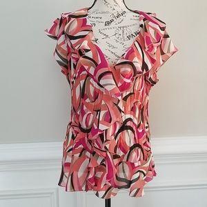 Bethany Blouse Short Sleeve Ruffle Sz XL
